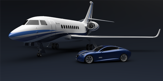 Jet and blue car rendered with CATIA